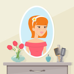 Red-haired young girl looks in the mirror. Vector flat  illustration.