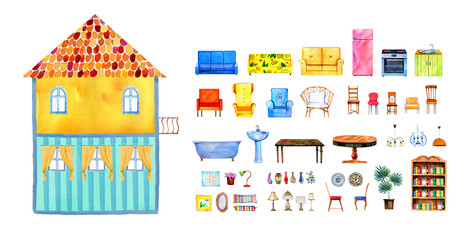 Inside view of empty two-story cartoon paper doll house with set of furniture. Hand drawn watercolor illustration