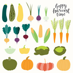 Big autumn harvest set with different vegetables, quote. Isolated objects on white background. Hand drawn vector illustration. Flat style design. Concept for fall, healthy eating, gardening.