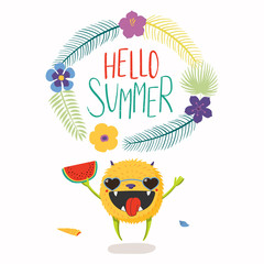 Hand drawn vector illustration of a cute little monster in sunglasses, with quote Hello Summer. Isolated objects on white background. Flat style design. Concept for change of seasons, children print.