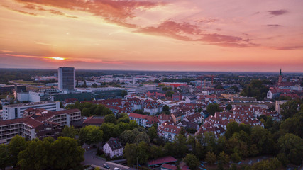cityscape at sunset. Germany, the city of Offenburg