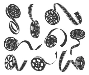 Film reel icons vector set isolated from background
