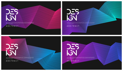 Set of abstract gradient geometric designs, colorful minimalist