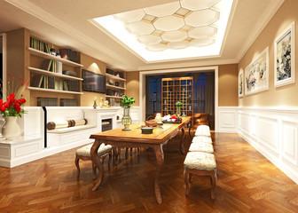 3d render of modern dining room