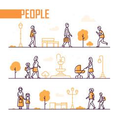 City life - set of line design style elements