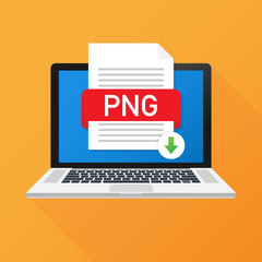 Download PNG button on laptop screen. Downloading document concept. File with PNG label and down arrow sign. Vector illustration.