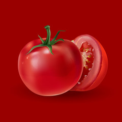 Tomatoes on a red background