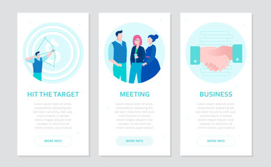 Business communication - set of flat design style banners