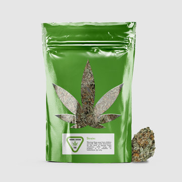 Cannabis Product Package with Window - Green