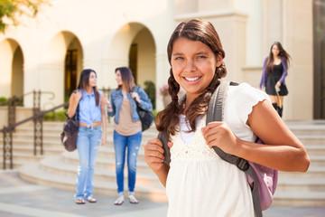 Cute Hispanic Teen Girl Student Walking on School Campus