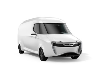 White electric powered delivery van isolated on white background. 3D rendering image.