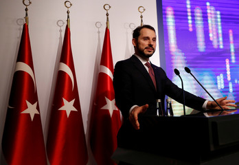 Turkish Treasury and Finance Minister Albayrak speaks during a presentation to announce his economic policy in Istanbul