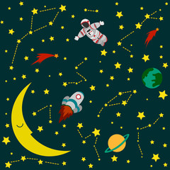 Astronaut and rocket in outer space background picture