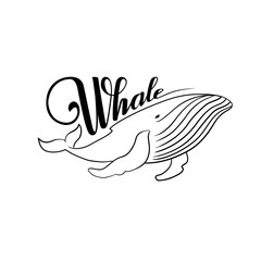 The word whale. Whale black and white.
