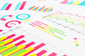 Colorful financial graphs and charts. Business background.