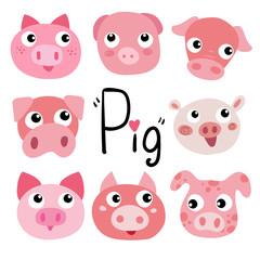 pig character vector design