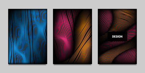 Geometry. Abstract Background Set With Movement and Volume Effect. Covers with Vibrant Gradient and Wavy Lines. Trendy Futuristic Illustration with Distort. Abstract Geometry for Brochure, Business.