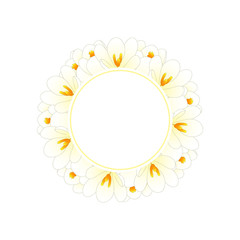 White Crocus Flower Banner Wreath