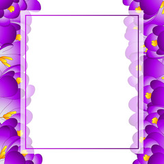 Purple Crocus Flower Banner Card Border