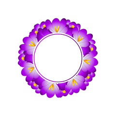Purple Crocus Flower Banner Wreath