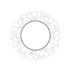 Crocus Flower Outline Banner Wreath