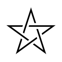 Pentagram sign - five-pointed star. Magical symbol of faith. Simple flat black illustration.