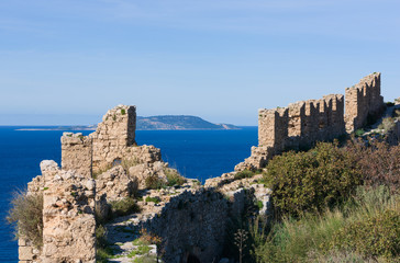 Old Navarino Castle looking over the Pylos bay in Gialova, Peloponnese, Greece.