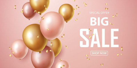 Sale banner with pink and gold floating balloons. Vector illustration. Wall mural