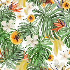 Beautiful watercolor tropical pattern with flowers of hibiscus and strelitzia. Tropical fruits papaya and bananas.