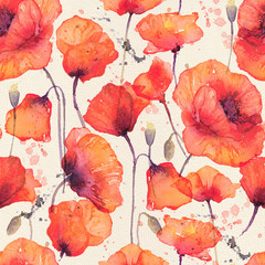 Watercolor seamless pattern with wild red poppies, vintage background