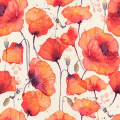 Modèle sans couture aquarelle avec des coquelicots rouges sauvages, fond vintage