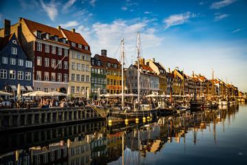 Nyhavn at golden hour (Copenhagen, Denmark)