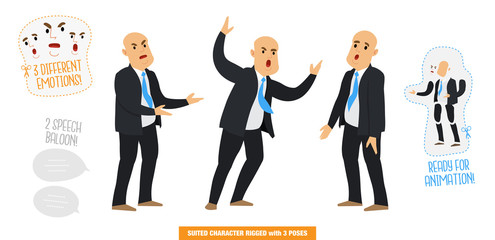 Vector illustration of a man with a suit, politics, businessman with 3 poses, 3 expressions and 2 speech balloons, Stylized rigged character set ready for animations