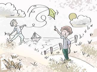 Met de vlieger spelen in de duinen aan het strand zomervakantie concept