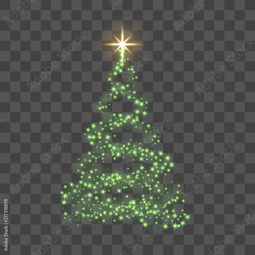 christmas tree on transparent background green christmas tree as symbol of happy new year