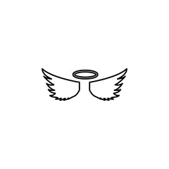 angel wings and halo icon