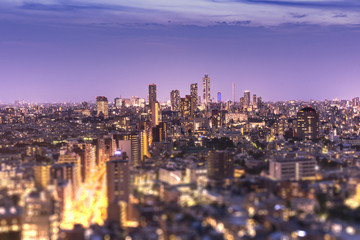 Aerial view of Ikebukuro skyscrapers illuminated in the night of Tokyo with tilt-shift bokeh in foreground.