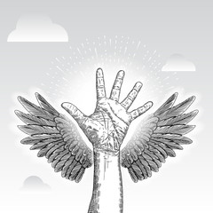 Charity concept. Donation, love and guardian angel hand with wings. Volunteer Poster. Human helping. Healthcare. Vector.