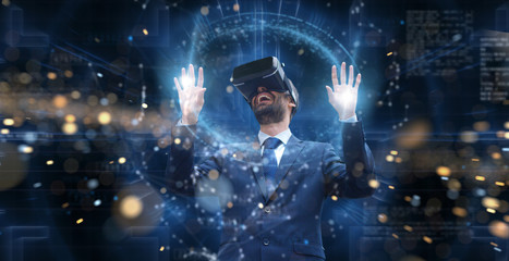 new technologies, a person uses a futuristic processor for augmented reality. high technology and communication concept. TV