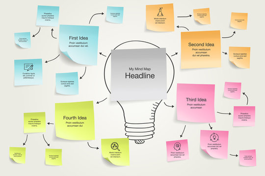 Simple infographic for mind map visualization template with colorful sticky notes and hand drawn icons. Easy to use for your design with transparent shadows.