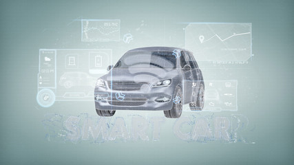 Dashboard smartcar interface on a background 3d rendering