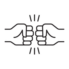 Fist bump. Friendship sign.