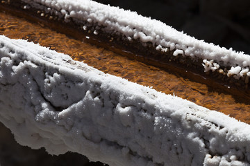 Salty water transportation in wooden channels