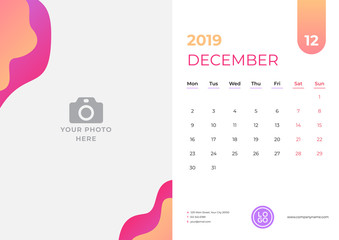 Calendar design for December 2019. Simple red and orange background. Week starts on Monday. Vector design print template with place for photo.