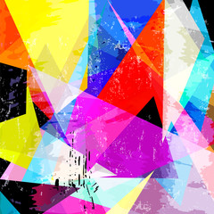 abstract geometric background vector art,, with triangles, paint strokes and splashes