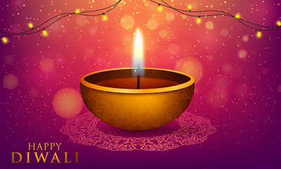 Happy Diwali Indian Deepavali Hindu festival of lights holiday greeting card template