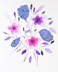 Flowers painted in watercolor.