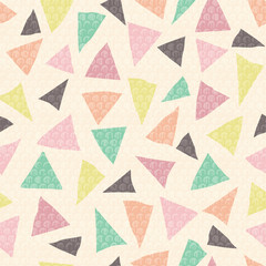 Vector pastel triangles seamless repeat pattern with circle texture. Perfect for school and office stationery, fabric, scrap booking, packaging, backgrounds and backdrops.