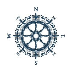 Wind rose and helm wheel.