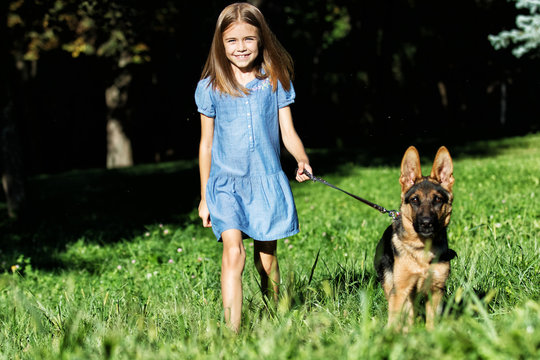 little girl and a puppy on a walk
